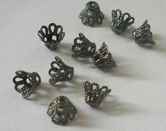 100 Gunmetal plated over brass Filigree Basket Beads Caps 7mm
