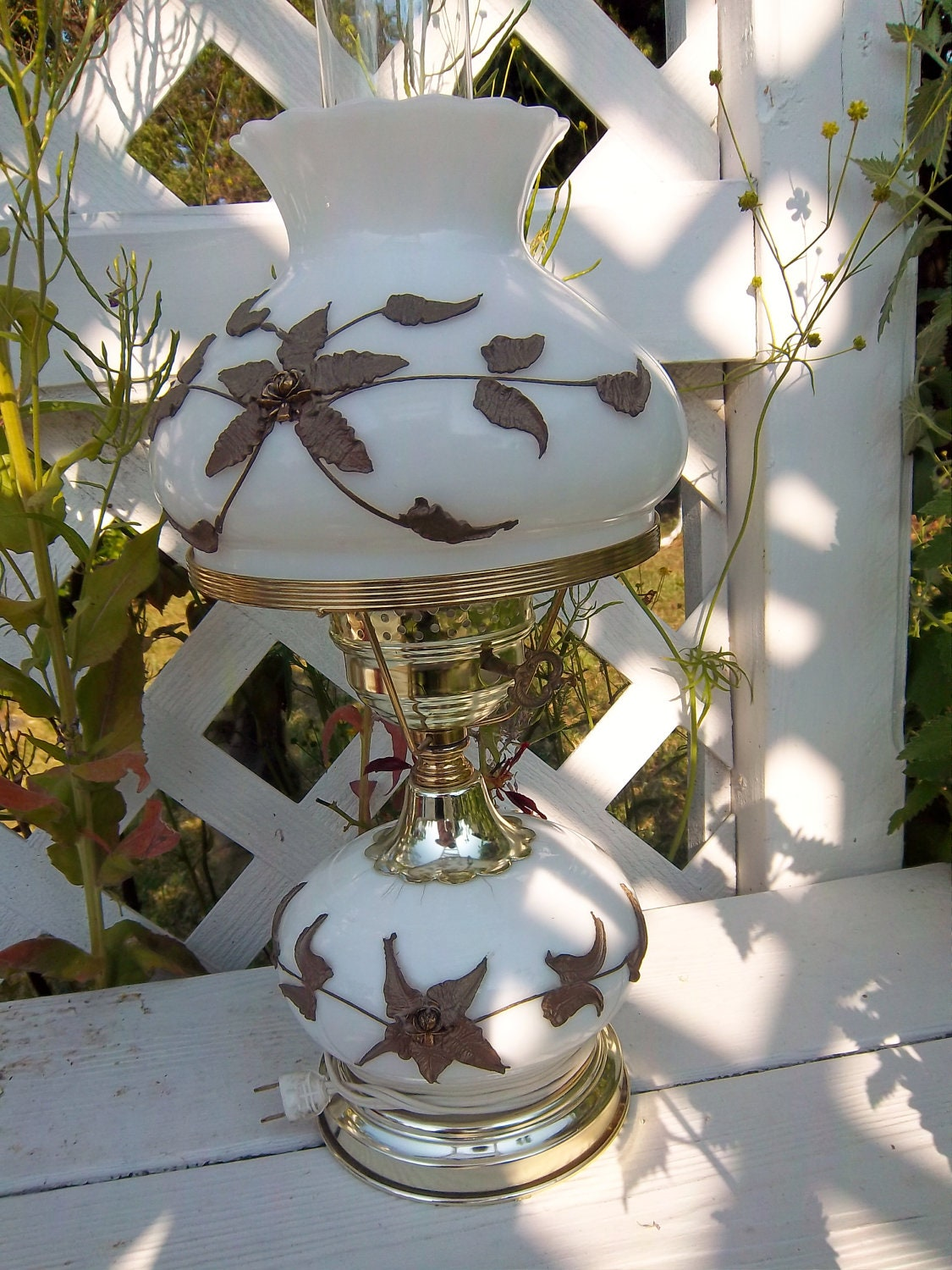 Vintage Milk Glass Hurricane Lamp 1940s By Energyforthesoul