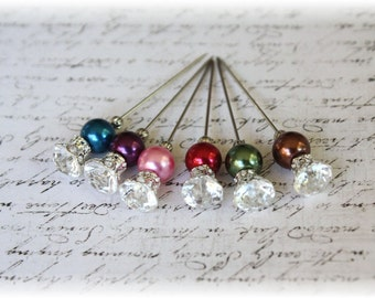 Rhinestone Stick Pins Dark Pearls Scrapbooking or Cardmaking
