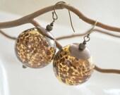 Brown Spotted Leopard Glass Earrings, Golden Amber Dangle Round Ball Earrings, Animal Print