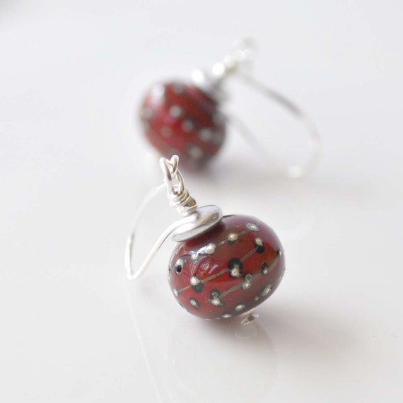 Red Stars Lampwork Glass Earrings