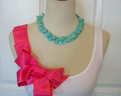 Embellished Tank Top with Pink Ribbon Ruffles and Big Beautiful Bow