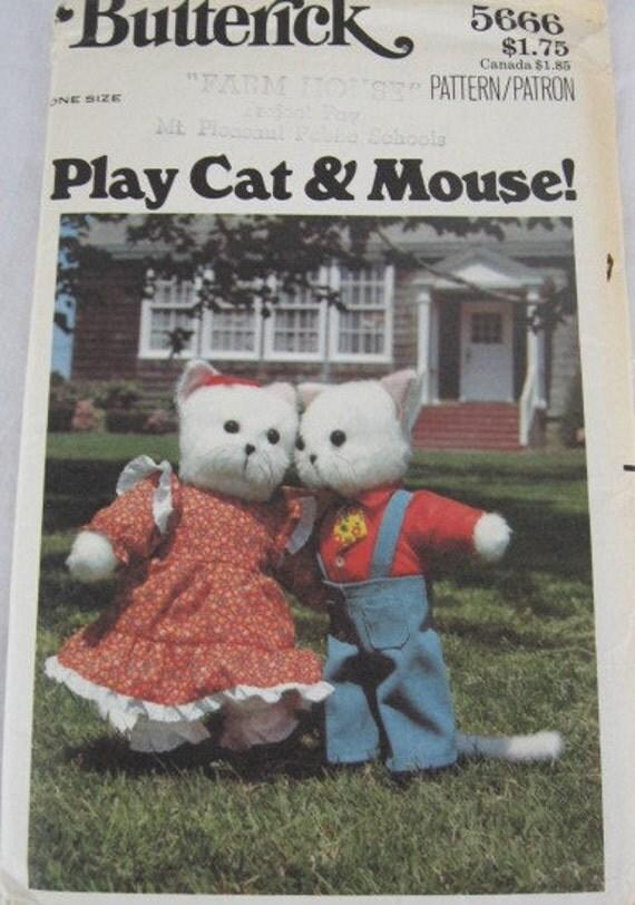 Butterick 5666 Vintage Plush Cat & Mouse Pattern Uncut