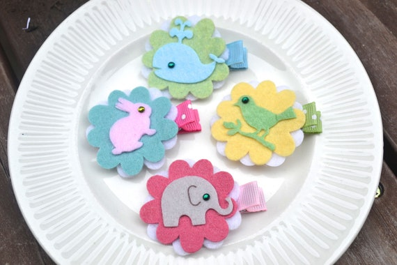 RESERVED for jtl8- Felt Animals Hair Clips-