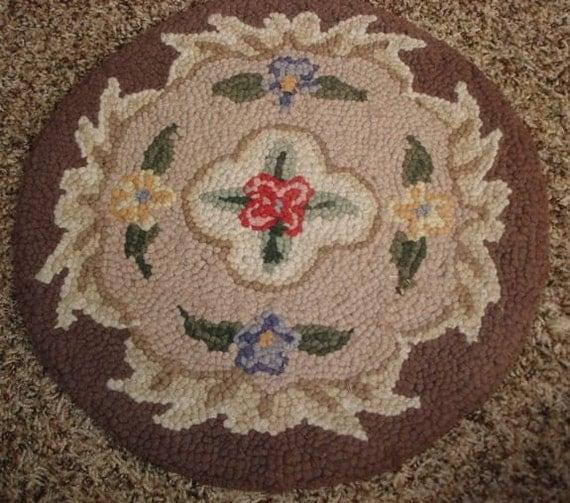 Vintage Hooked Round Rug Mat Pad Floral