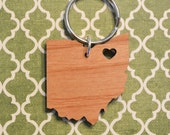 Cleveland, Ohio Love Wood Key Ring