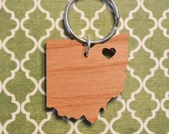 Cleveland, Ohio Love Wood Key Ring