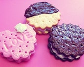 Kawaii Cream Filled Cookie Biscuit  Charm Keychain / Necklace