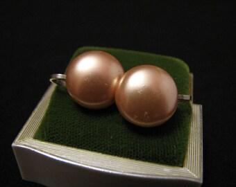 Vintage Pink Faux Pearl Screwback Earrings