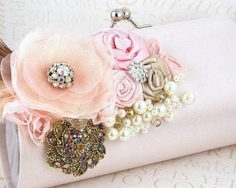 Clutch, Handbag, Purse, Bridal, Wedding, Mother, Blush, Pink, Gold, Champagne, Pearls, Brooch, Crystals, Feathers, Satin, Elegant