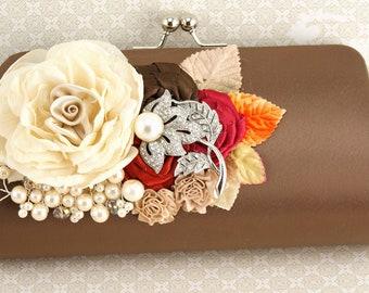 Clutch, Wedding, Handbag, Purse, Brown, Red, Orange, Raspberry, Champagne, Chocolate, Fall, Brooch, Crystals, Pearls, Elegant