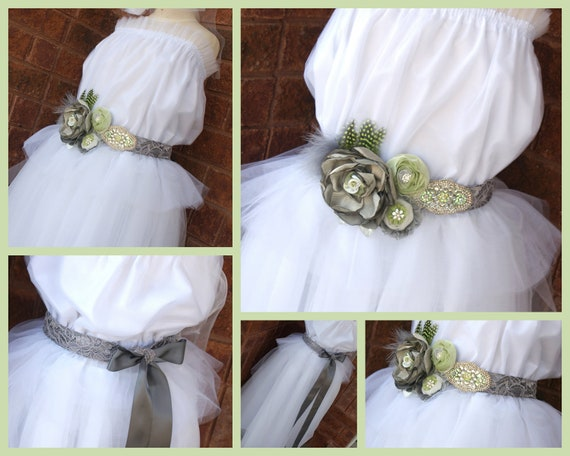 CUSTOM ORDER for Jamie- Bridal Sash in Grey, Silver and Lime Green with Lace