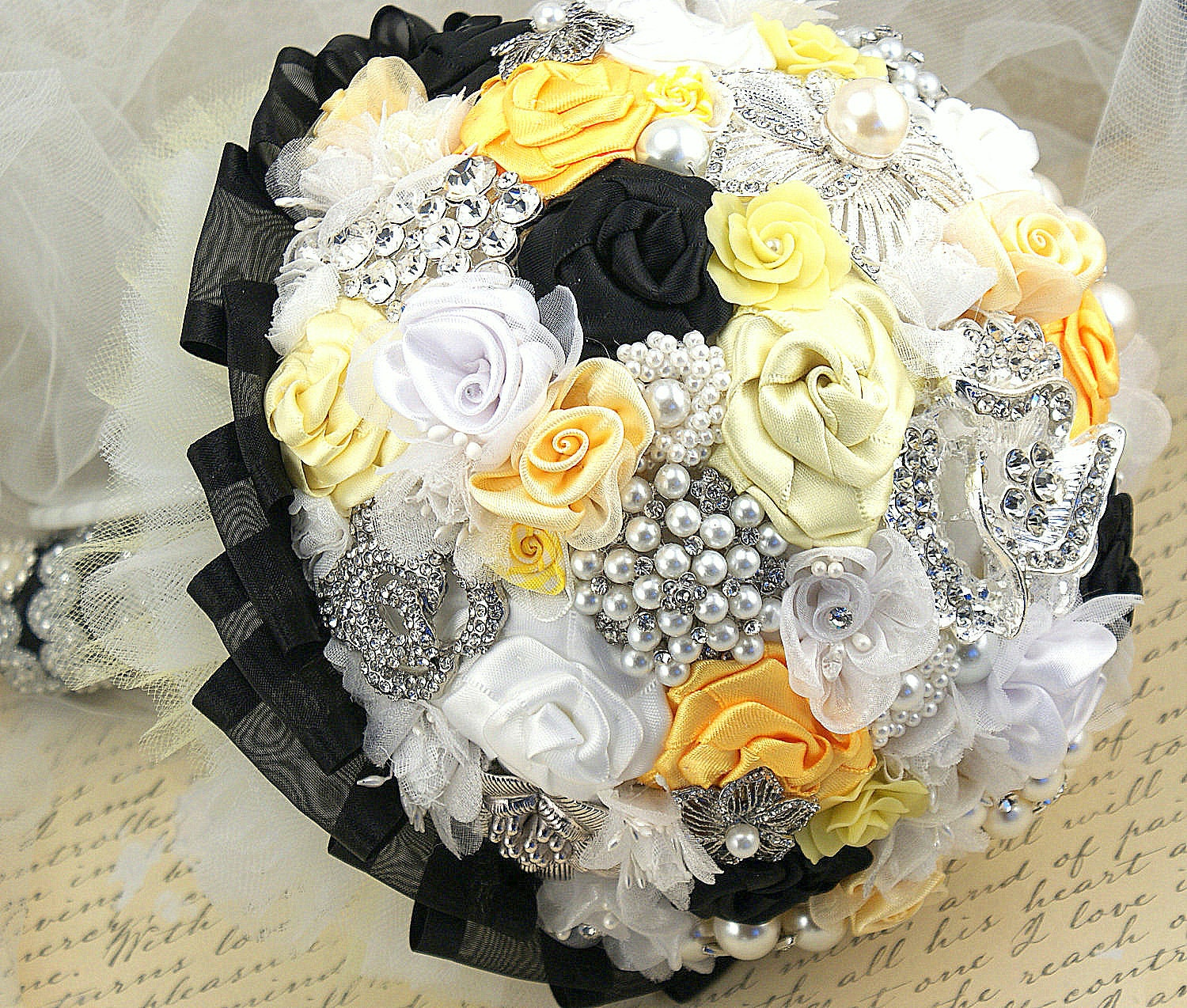 Black And Yellow Wedding Flowers: Brooch Bouquet Black White Lemon Yellow Wedding Bridal