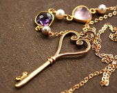 Gold Skeleton Key Necklace - Amethyst, Rose Quartz - Long Key Necklace, Shabby Chic