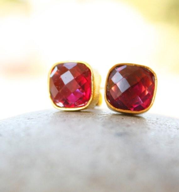 Gold Ruby Quartz Square Stud Earrings - Cushion Cut - Red Stone Studs