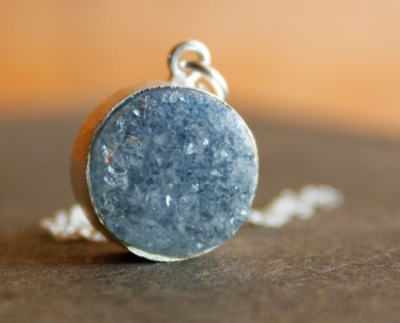 Soft Grey Agate Druzy Necklace - Sterling Silver - AAA Quality, Rough Geode Slice