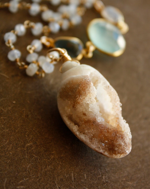 Fossilized Seashell Necklace - Long Layering Necklace - Aqua Chalcedony, Blue Topaz, Rainbow Moonstone
