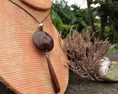 Natural Coconut Wood & Wood Teardrop Dangle Necklace - Organic Jewelry