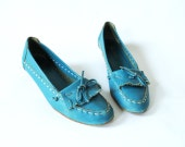 Vintage Moccasin Wedges Size 7 Turquoise Leather