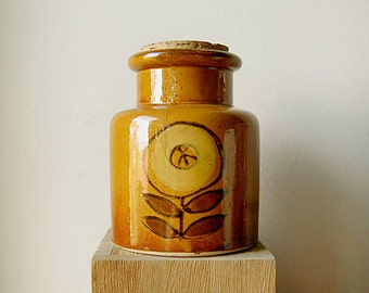Vintage Ceramic Storage Sugar Jar Down to Earth Yellow Goldenrod 70s with Cork Stopper Hand Glazed.