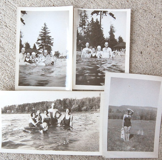Vintage Photo Instant Collection Swim at the Lake Theme for Antique 1930s Black and White Summer Fun.