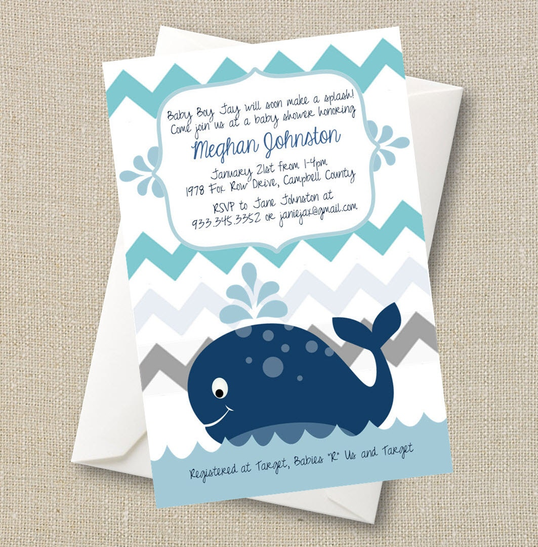 whale baby shower invitation a splash of boy blue chevron