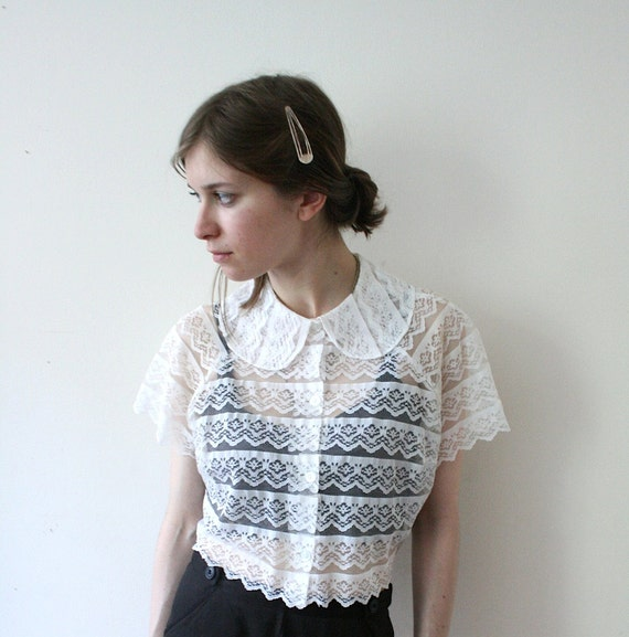Vintage 50s Lace Sheer Peter Pan Capelet Blouse