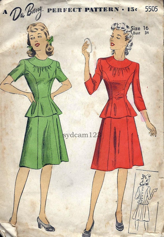 Vintage 1942 Two Piece Peplum Suit...Princess Seams...Flared Skirt..DuBarry 5505 Bust 34