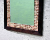 RESERVED for cosgroves431 /// Custom Glass Mosaic Tile Framed Mirror, Dark Brown Finish, 26 x 28 - Handmade