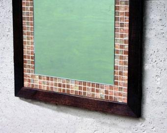 Glass Mosaic Tile Framed Mirror, Dark Brown Finish, 26 x 36 - Handmade