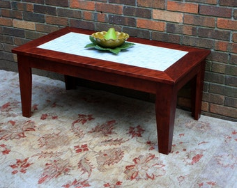 "Cherry Coffee Table, Mother of Pearl Centerpiece, Natural Contemporary, ""Cherry & Pearl"", Satin Finish - Handmade"