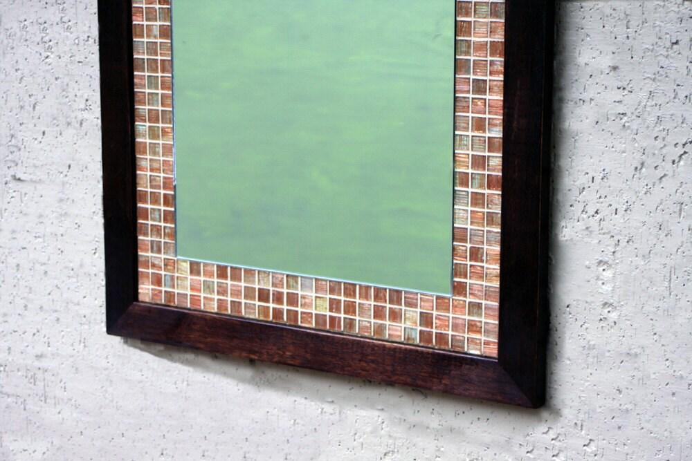 zoom. Glass Mosaic Tile Framed Mirror Dark Brown Finish 26 x 36