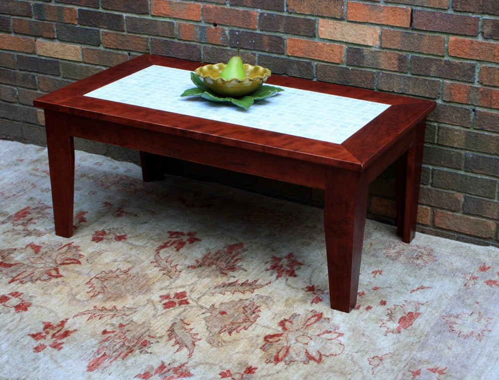 Cherry Coffee Table Mother Of Pearl Centerpiece Natural
