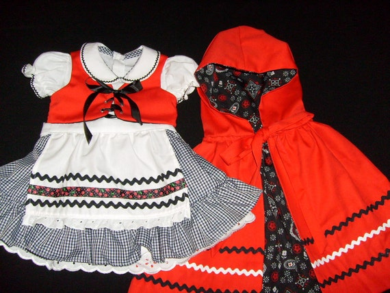 Boutique Oktoberfest inspired Dirndl Little Red Riding Hood Costume Party Dress Outfit Cape Apron Vest Set Size 12-18 mo.