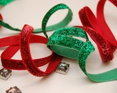 5 yds 10 mm holiday glittered ribbons with Color of your Choice