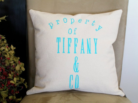 Property of Tiffany and Co - Hand Stamped Pillow Cover