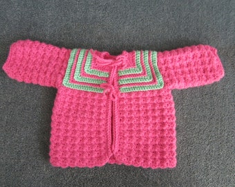 Crocheted 0 to 3 Month Sweater, Baby Shower Gift, Pink and Green