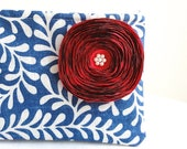 Blue Fern Clutch Purse in Blue and Ivory / Handmade Satin Red Flower