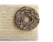 Tan Woven Clutch Handbag / Khaki Fabric Flower