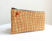 Terra Cotta Clutch / Zippered Bag with Beaded Pull - READY TO SHIP