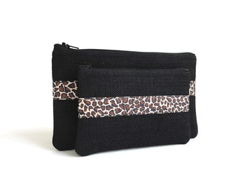 Black Woven Zippered Pouches with Leopard Print Ribbon - Set of 2 Zipper Bags - READY TO SHIP