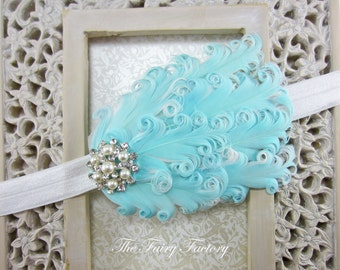 Feather Headband - Baby Blue and White Feather Headband w/ Pearl & Crystal Accent - Baby Toddler Child Girls Headband Adult