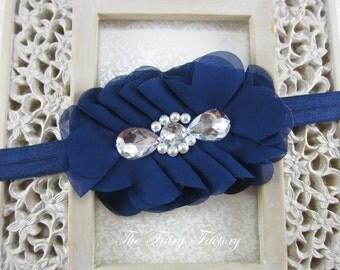 Navy Blue Flower Headband, Navy Blue Chiffon Flower Puff w/ Pearls and Jumbo Rhinestones Navy Blue Headband or Hair Clip - The Cecilia