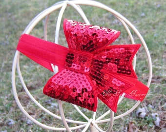 Red Sequin Hair Bow - Larger Red Sequin Hair Bow Stretchy Headband or Hair Clip - Infant Baby Toddler Girl