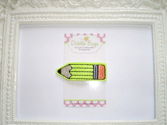 Girls Hair Accessory - Back To School - Lime Pencil Snap Clip