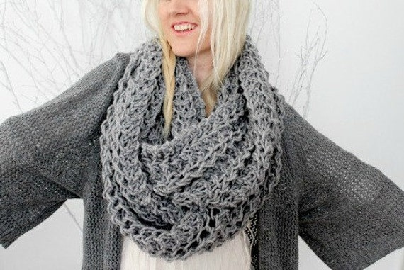 Knit Infinity Scarf/ Chunky Knit Scarf/ Grey/ Lace Knit Scarf/ Chunky Cowl/ Wrap Scarf/ Oversized Scarf/ Circle Scarf/ Womens Gift