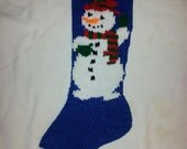 Hand Knitted Mr. Snowman Stocking