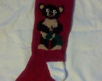 Handknitted Christmas Bear Stocking
