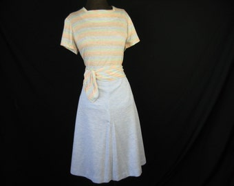 pastel stripe skirt set 60s blouse and a-line skirt large / XL new old stock