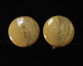 Mid Century Genuine Wood Button Earrings